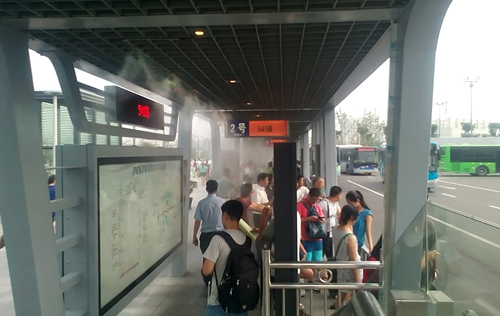 公交站台安装高压微雾加湿器